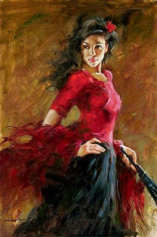 Peinture que j 39 aime 9 danseuse l 39 ventail - Peinture les danseuses ...